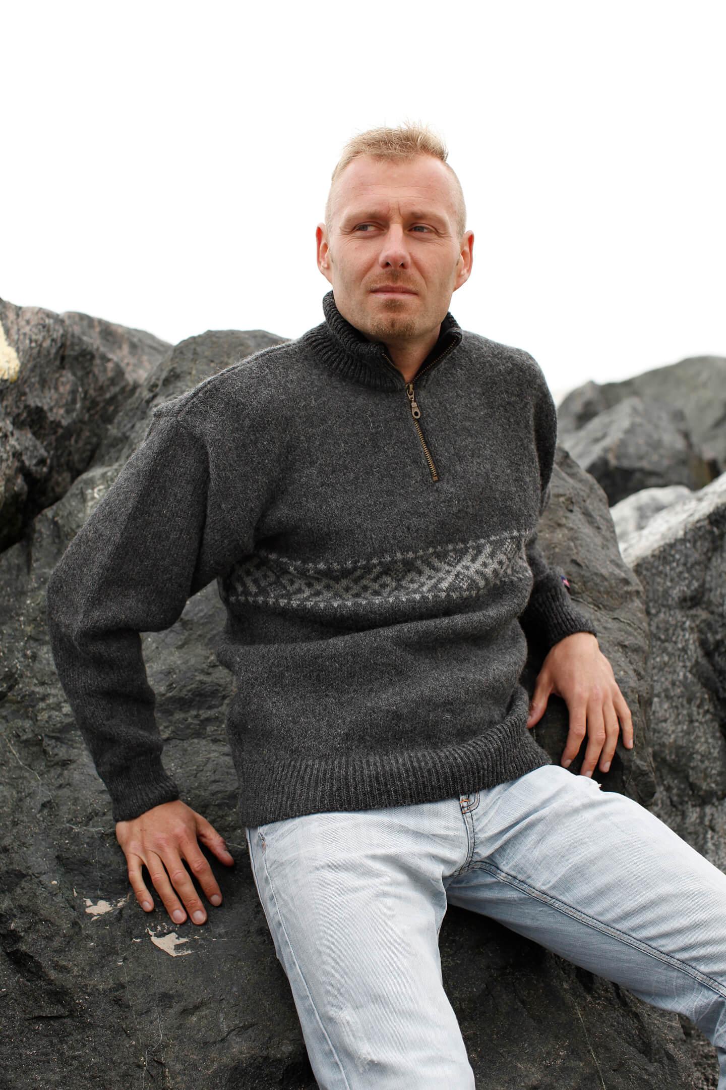 Original norsk ulltröja i klassisk design av 100% ren ny ull